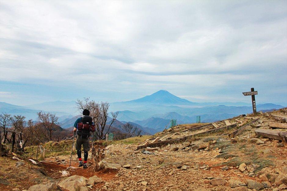丹沢の鍋割山から富士山をのぞむ