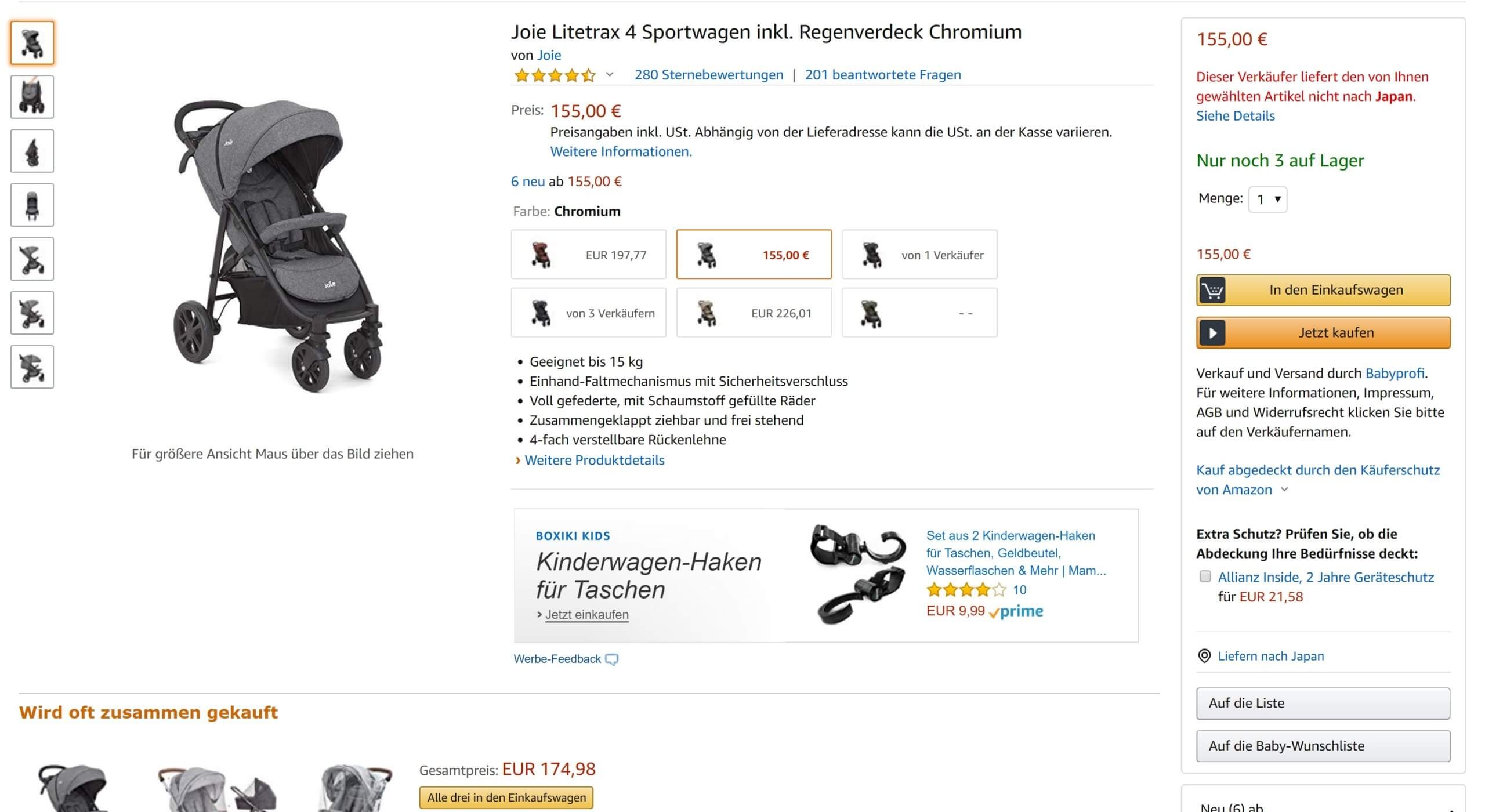 Joie Litetrax 4 Sportwagen inkl. Regenverdeck Chromium
