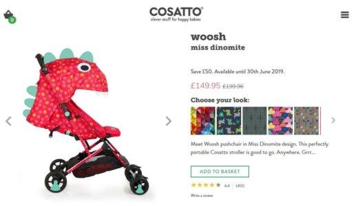 COSATTOの可愛い怪獣ベビーカーが今最安値でおすすめ